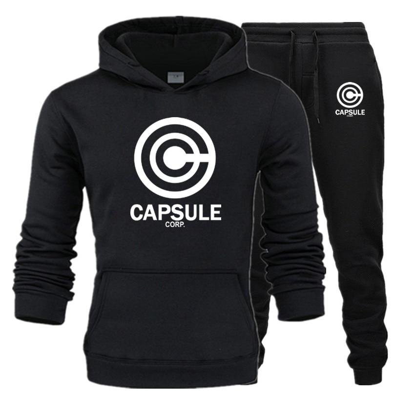 Tracksuit Men Fleece Hoodies Set 2020 Warm Sweatshirt Print Capsule Homme Thick Hoodie+Pants Sportswear Tracksuit Top And Pants