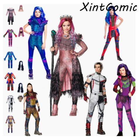 Kids/women Halloween Costume For Men Adult Cosplay Descendants 3 Evie Mal Audrey Jay Carlos Costumes Funny Party 3D Jumpsuits