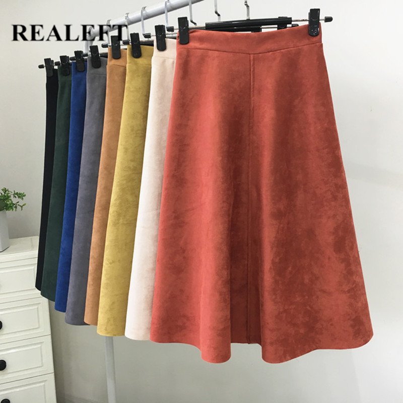 REALEFT Women's Suede Midi Skirt Winter Vintage Style High Waist Elastic Ladies A-Line Flare Fashion Skirts Female 2019 New
