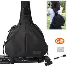 Canvas Sling Shoulder Bag Cross Body Triangle Camera Video Photo Tripod Case Waterproof w Rain Cover for Canon Nikon Sony SLR