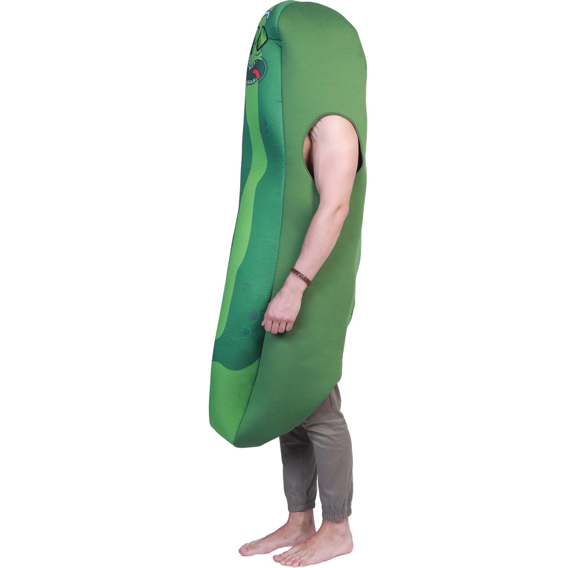 Costumes d'halloween pour hommes adulte Rick et Morty cornichon Rick mousse Costume pour hommes concombre vert Cosplay nourriture dessin animé Costume