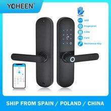 YOHEEN טביעת אצבע מנעול חכם כרטיס דיגיטלי קוד אלקטרוני מנעול דלת Bluetooth TTLock App אבטחה לגרז נעילה
