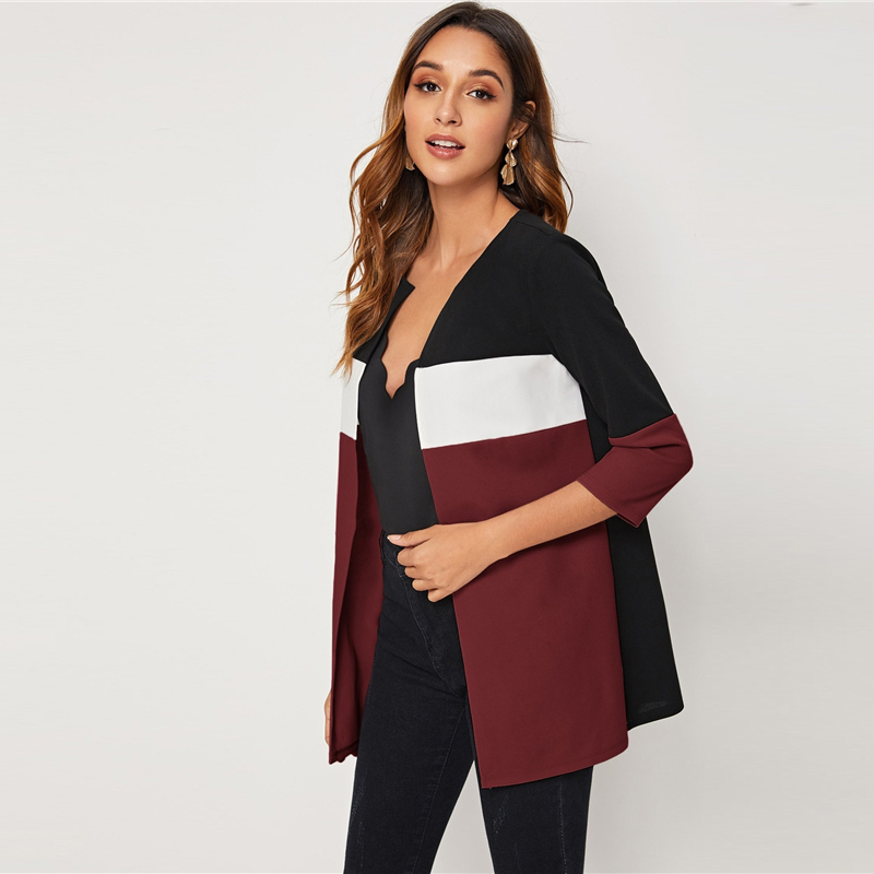 H29155569c1b34f9d8b1ca67b6667ec82O SHEIN Colorblock Round Neck Cut And Sew Open Front Basic Coat Women 2019 Autumn 3/4 Length Sleeve Ladies Casual Outwear Coats