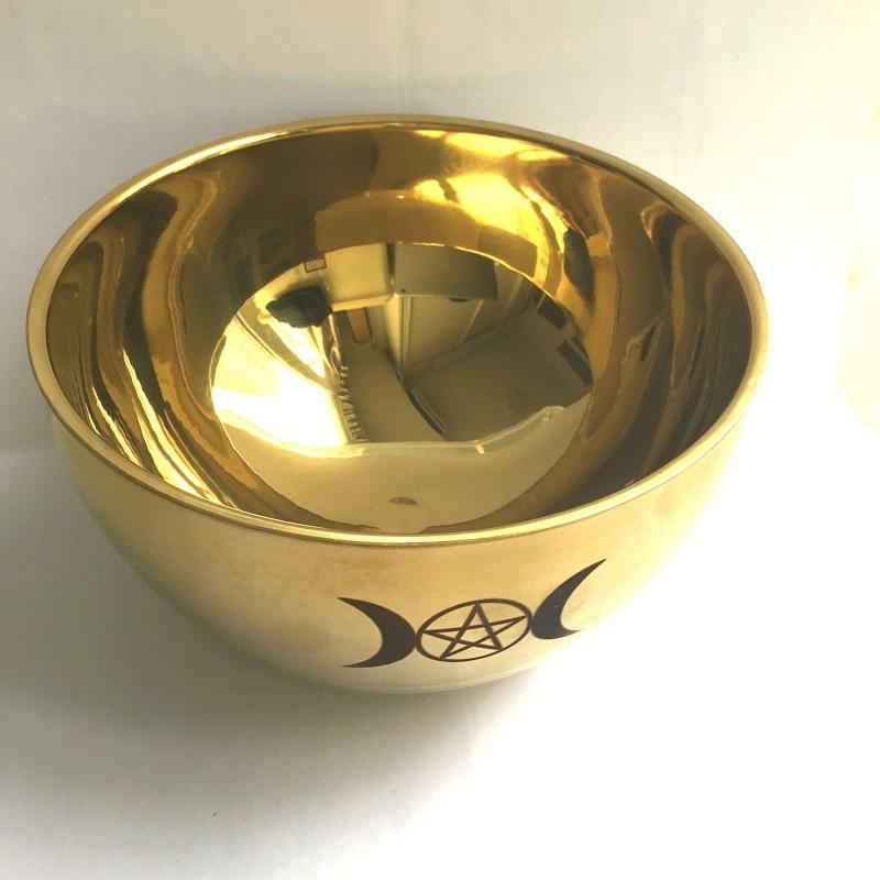 Ritual Bowl Tarot Pentagram Stainless Steel Gold Plating/ Tableware Ceremony NoonDivination Astrological Tool Altar Prop