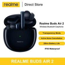 Realme buds ar 2 sem fio bluetooth 5.2 fones de ouvido com cancelamento de ruído ativo hi-fi bass boost 25hrs reprodução tws