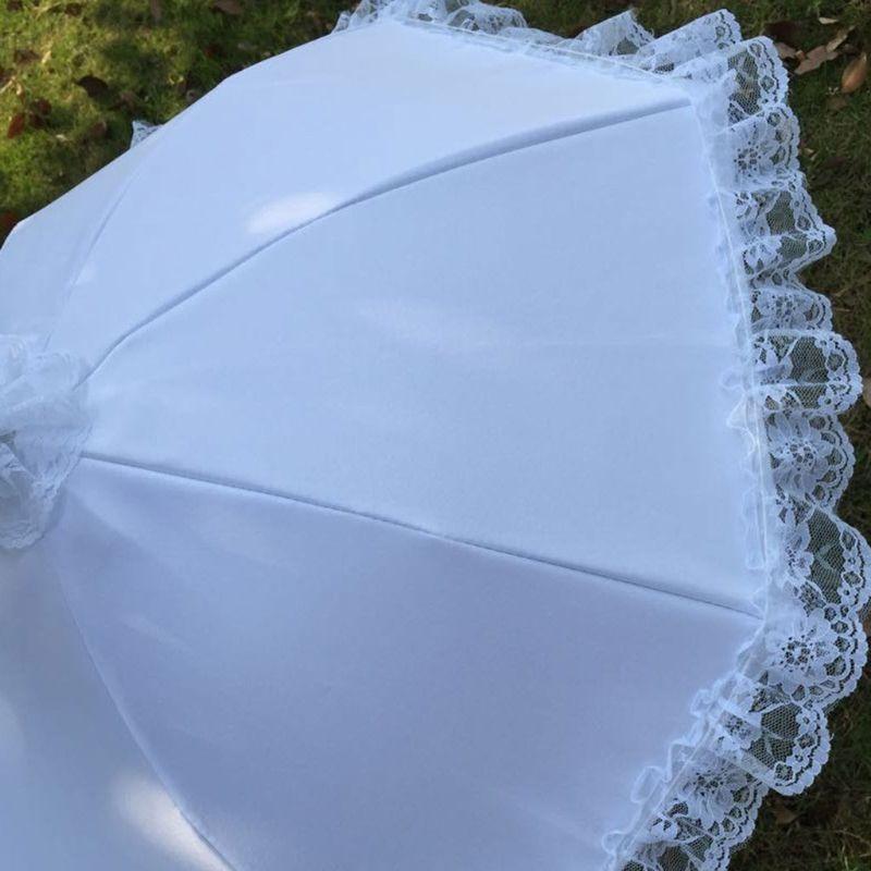 Wedding Bridal Parasol Umbrella Hollow Lace White Romantic Photo Props Decorative Umbrellas Flower Girl