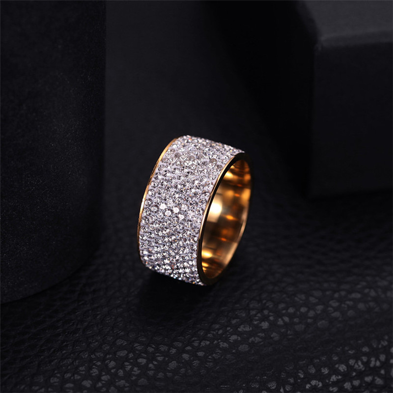 Wholesale 8 row Crystal Rings for Women Austria Crystal Ring Stainless Steel Bijoux For Women Wedding Jewelry