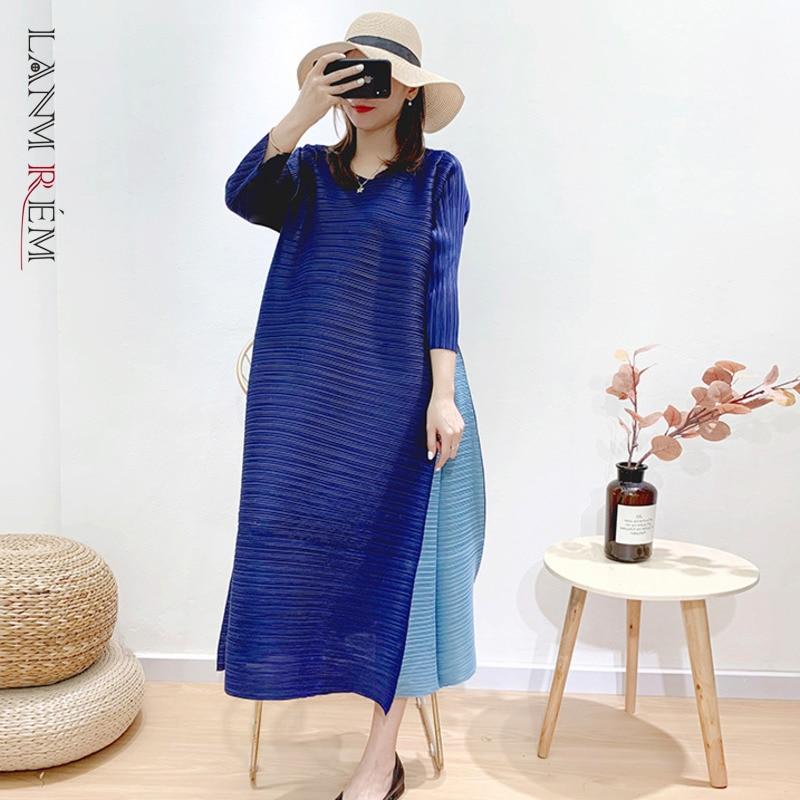 LANMREM high qualtiy pleated organ dresses 2021 French V-neck temperament large size summer slim dress female color block YJ599