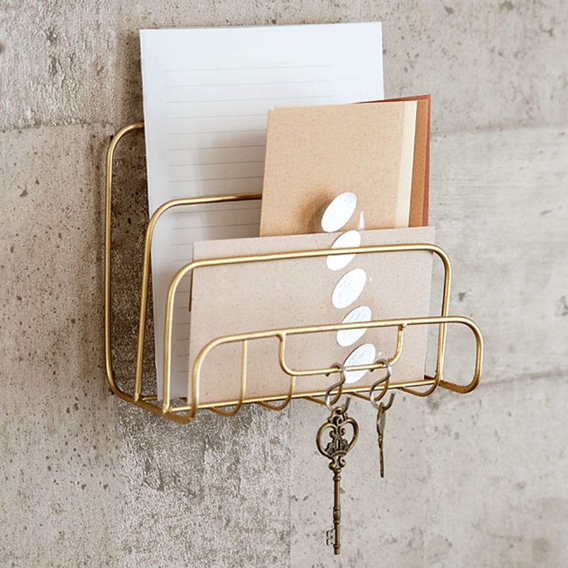 Home Office Storage Letters Bookshelf Storage Bag Iron Frame Simple Golden Desk Accessories Gifts Simple French Style