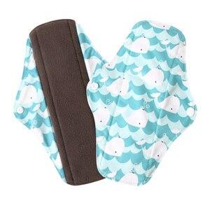 Image 5 - 5Pcs Women Menstrual Pads Reusable Sanitary Napkin Absorbent Reusable Charcoal Bamboo Cloth Pads Washable Sanitary Towel Size M