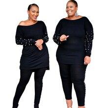 Novas roupas africanas para as mulheres dois conjuntos de peças longas topos calças magras combinando conjunto jogging inverno conjunto agasalho plus size 4xl 5xl