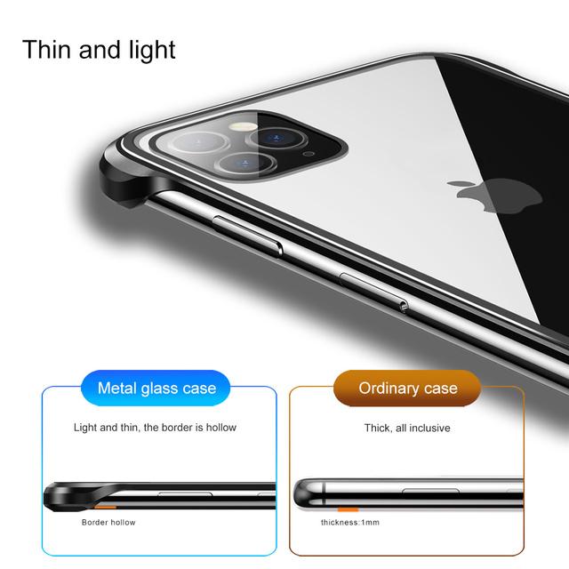 iPhone 11 Pro Max Metal Bumper Transparent Back Glass Case Cover