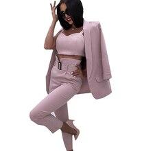 MVGIRLRUกระโปรงสำนักงานสุภาพสตรีชุด 3 ชิ้นButtonless Slim Blazer CamisTopsและกางเกงผู้หญิงกางเกงชุด