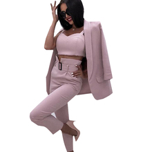 MVGIRLRU Womens Tracksuit Office Ladies Solid 3 Pieces Set Buttonless Slim Blazer CamisTops and Pant Women Pants Suits