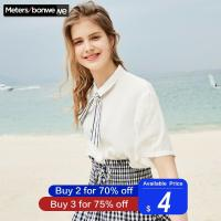 METERSBONWE Short Sleeve Shirt for Female Blouse Love Embroidery Japanese Shirt Lovely Students Summer New Arrival