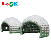 Silver Inflatable Dome Tent with Two Small Windows,Inflatable Igloo Tent Camping Tent with Air Blower for Event Party