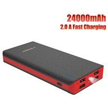 Banco de potência 24000 mah bateria externa portátil 4 saída usb carga rápida para o iphone x xiao mi a2 nota 8 xiomi honra