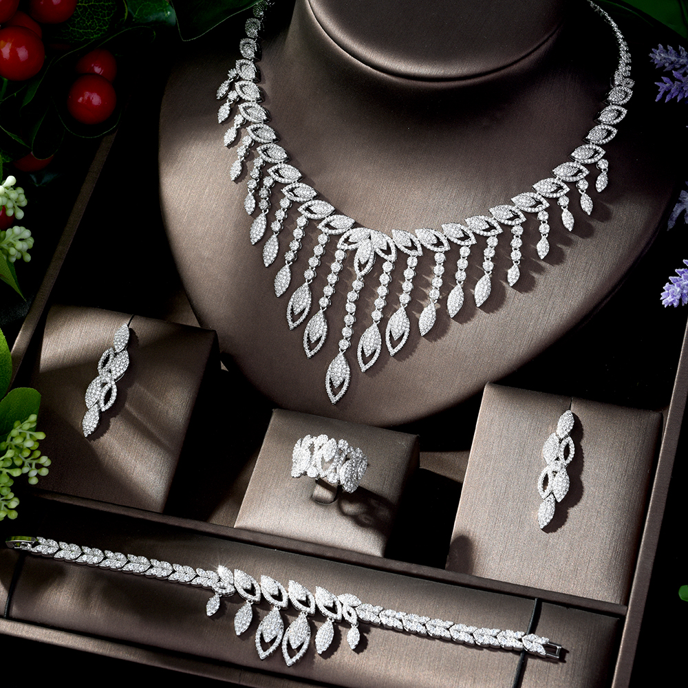 HIBRIDE Luxury Style Growing Leaves With AAA Cubic Zircon Elegant  Jewellry Sets Earring Necklace for Women Attending PartyN 1218Jewelry  Sets