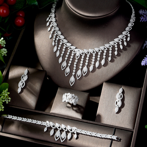 Image 1 - HIBRIDE Luxury Style Growing Leaves With AAA Cubic Zircon Elegant Jewellry Sets Earring Necklace for Women Attending PartyN 1218
