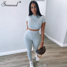 Simenual Solid Casual Sporty Two Piece Lounge Sets Women Short Sleeve Tee And Leggings Matching Set Workout Active Wear Fashion