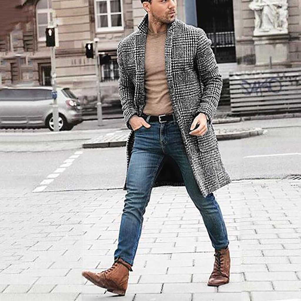 Korean men's casual winter fashion warm long-sleeved houndstooth gentleman pockets cotton long coat jacket Куртка мужская 1