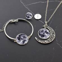 Planet Jewelry Set Solar System Glass Cabochon Silver Necklace Bracelet Earrings Moon Earth Sun Mars Jupiter
