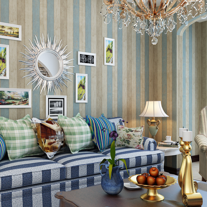 Blue Mediterranean Stripes Self Adhesive Wallpaper Furniture Refurbishing Sticker Clothing Store College Student Dormitory Wood