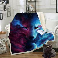 Drop Shipping Throw Blanket 3D Printed Dogs For Wolf Velvet Plush Sofa Blanket Sherpa Fleece Coral Microfiber Couch Cover Manta