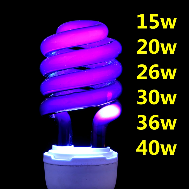 220V E27 15-40W UV Light Bulb UV Ultraviolet Fluorescent CFL Light Bulb Spiral Enegy Saving Black Light Violet Lamps Lighting