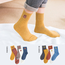 20pairs/set Factory Autumn Winter Women Socks Embroidered Bear Socks Cute Japanese Cotton Socks Women Cotton Ladies Socks Cute flower embroidered socks curled wood ear cotton socks comfortable women s socks