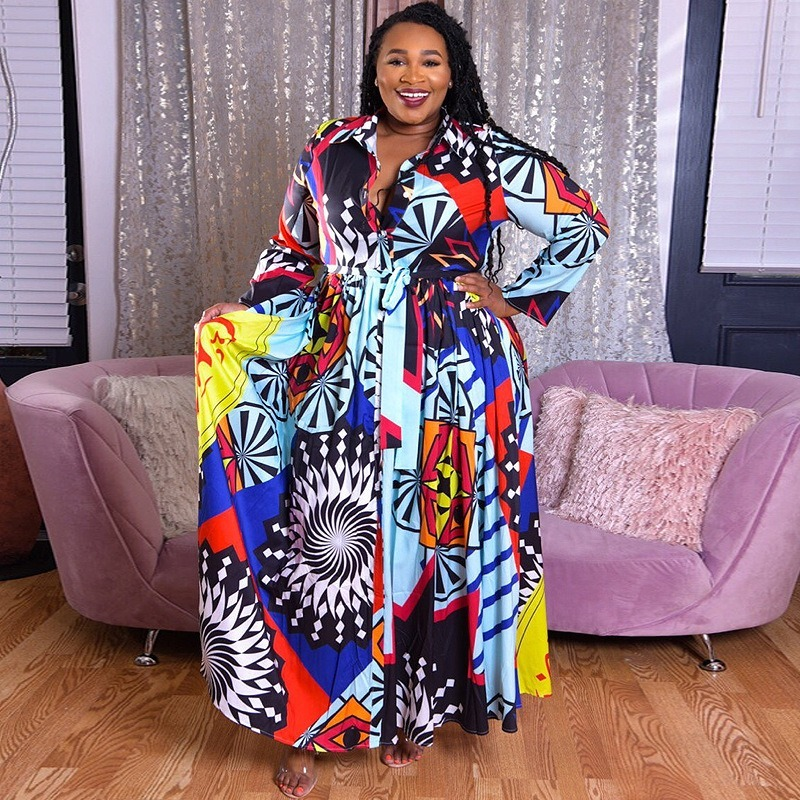 Женское длинное платье в африканском стиле размера плюс 5XL, длинное платье с принтом, вечерние пляжные платья с длинным рукавом|Африканская одежда|   | АлиЭкспресс