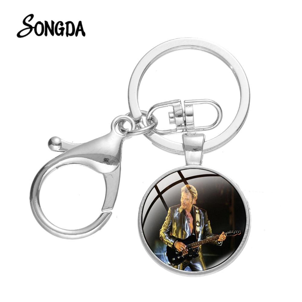 SONGDA Cool Johnny Hallyday Printed Alloy Keychain Playing Guitar Photo Popular Rock Star Glass Time Gem Key Chain for Fans Gift