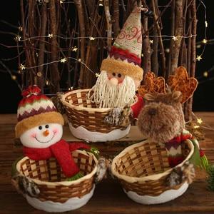 Image 4 - החג שמח סוכריות אחסון סל קישוט סנטה קלאוס אחסון סל מוצרים עבור חג המולד סוכריות מיכל מכירה לוהטת # R15