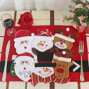 Image 2 - 3 teile/satz Weihnachten Dekorationen Für Haus Schneemann Besteck Taschen Weihnachten Santa Claus Küche Esstisch Besteck Anzug Set Decor