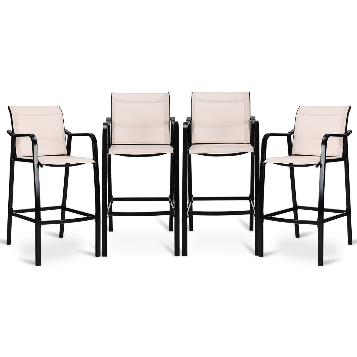 Costway 4 PCS Counter Height Stool Patio Chair Steel Frame Leisure Dining Bar Chair