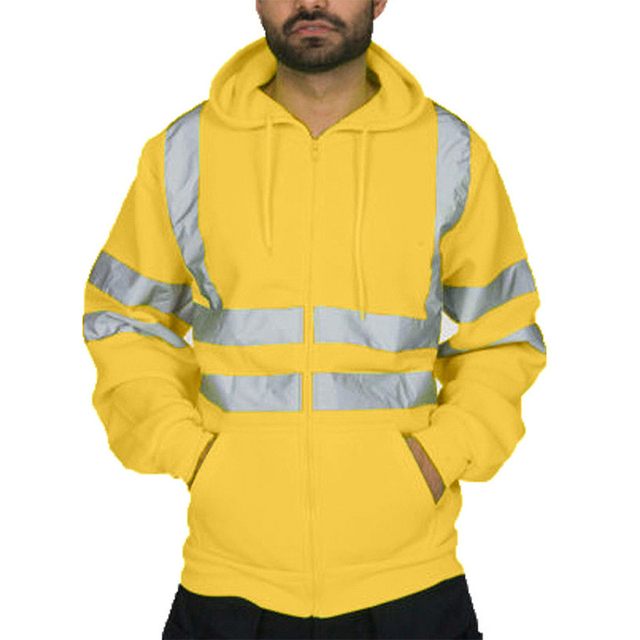 VICABO Men Stripe Patchwork Hooded  Jacket Ski Hoodies Reflective Visibility Workwear Coat Color Block 5