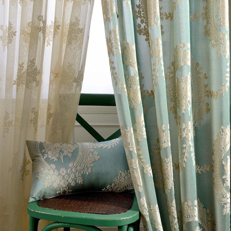 Damask Flocked Jacquard Curtains Living Rooms Luxury Drapes Shiny Velvet Curtain