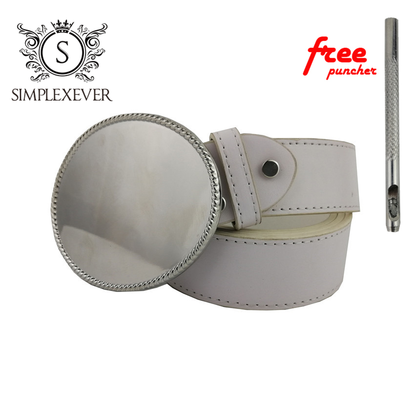 Oval Belt Buckle Head With PU Belt For Men Blank DIY  Belt Buckle Accessories For Women Nice DIY Birthday Gift