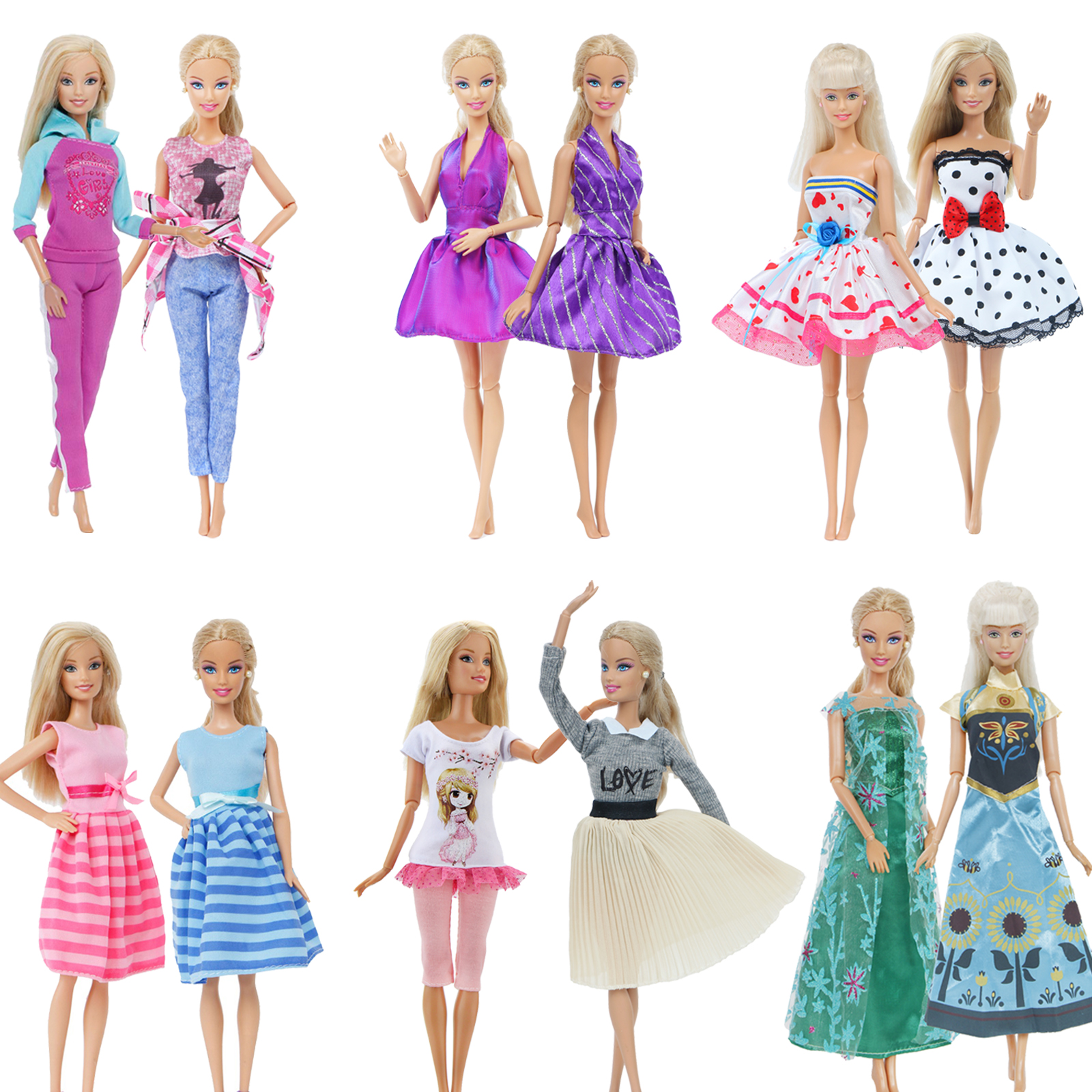 2 Pcs / Lot Handmade Doll Dress For Barbie Doll Casual Daily Wear Twins Outfit Skirt Pink Blue Clothes Accessories Kids Toy