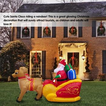 Christmas Garden Ornament Elk Sleigh Santa Claus Inflatable Decoration christmas decorations for home