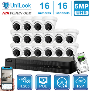 Image 1 - UniLook 16CH NVR 5MP Turret POE IP Camera 8/10/12/16PCS Outdoor Security Hikvision OEM ONVIF H.265 CCTV system NVR Kit With HDD