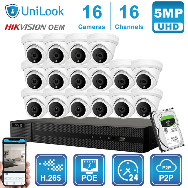 UniLook 16CH NVR 5MP Turret POE IP Camera 8/10/12/16PCS Outdoor Security Hikvision OEM ONVIF H.265 CCTV system NVR Kit With HDD
