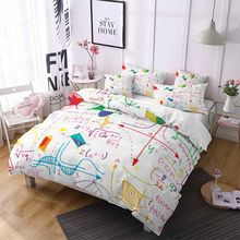 Bedding Set Math Formula Duvet Cover Set 2/3pc Kids Bedding with Pillowcase Double Queen Home Textiles Retro Brushed Quilt Duvet(China)