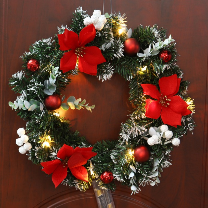 Christmas Garland Hanging Decoration Tree Pendant Christmas Wreath Rattan Ornaments Festival Party Xmas Tree Hanging Holiday