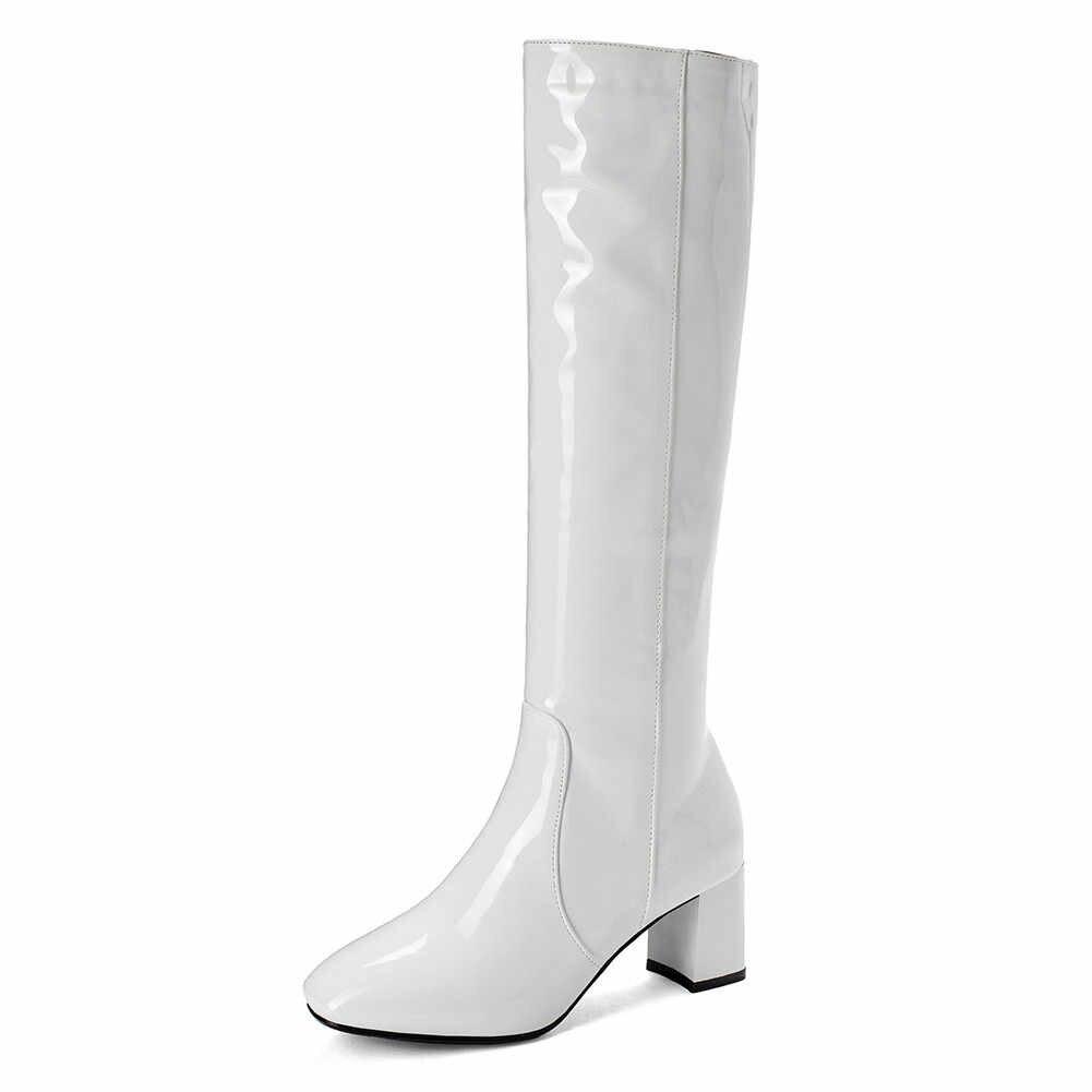 BONJOMARISA Plus Size 34-45 Bán Chun Gót Đầu Gối Cao Giày Nữ Giày Nữ Vuông Ngón Chân Zip Up 2019 mùa Thu Giày Người Phụ Nữ Giày