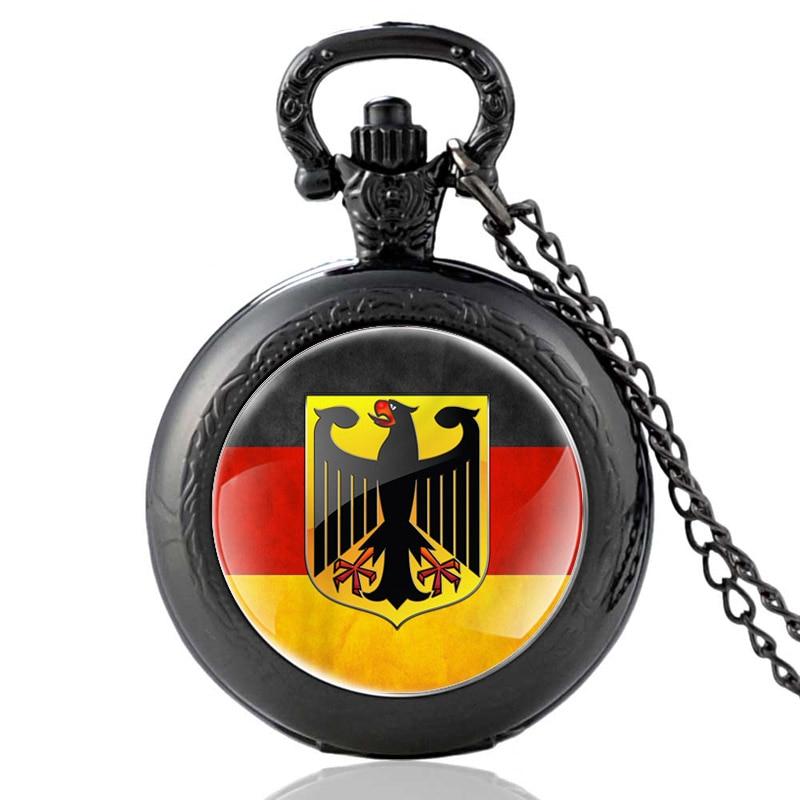 German Flag And Coat Of Arms Of Germany Design Black Vintage Quartz Pocket Watch Men Women Pendant Necklace Hours Clock Gifts