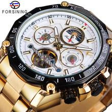 купить Forsining Classic Golden Tourbillon Mechanical Watch Mens Automatic Moonphase Calendar Stainless Steel Belts Clock Reloj Hombre дешево