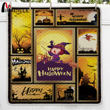 Miracille Pumpkin lantern Halloween Witch Celebrate Orange Bedding Sets Home Textile Bedclothes Duvet Cover Quilt