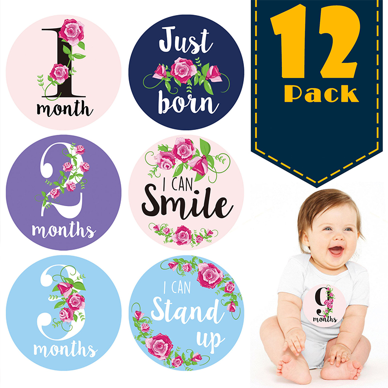 12Pcs New Baby Monthly Photograph Stickers Cartoon Flower Newborn Baby Photography Milestone 1-12 Months Kids Photo Booth Props