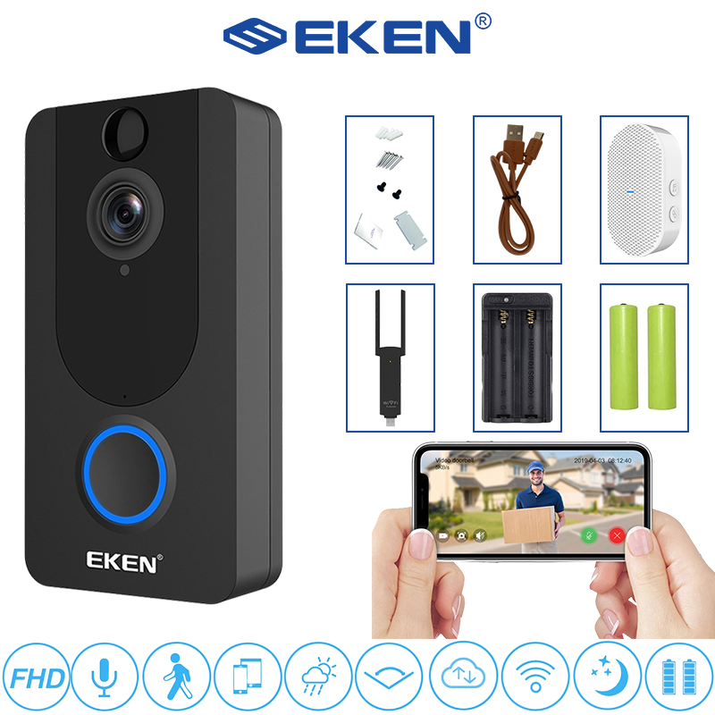 EKEN V7 1080P FHD Smart WiFi Video Doorbell Visual Intercom Night Vision IP DoorBell Wireless Security Camera Free Cloud storage
